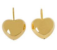 Veronese 18K Clad Polished Heart Leverback Earrings - J302279