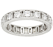 Diamonique 100-Facet Fancy Eternity Band Ring, Platinum Clad - J317979