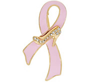 FFANY Enamel Ribbon Pin with Crystal Shoe Accent - J318079