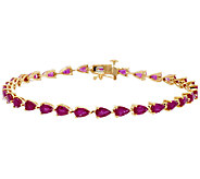 Ruby, Emerald or Sapphire Pear Shaped 8 Bracelet, 14K - J319379