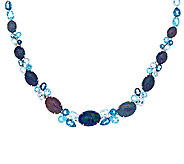 Australian Opal Triplet & Blue Topaz Sterling Necklace 44.00 ct tw - J323079