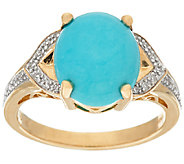 Sleeping Beauty Turquoise & Diamond Ring 14K Gold - J324379