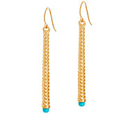 Oro Nuovo Turquoise Ribbed Stick Design Earrings 14K - J324679