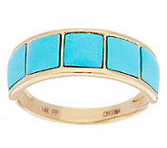 As Is14K Gold Sleeping Beauty Turquoise Inlay Design Band Ring - J326279