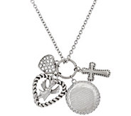 As Is Stainless Steel Charm Dangle Necklace w/18 Chain - J327079