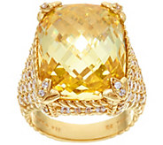 Judith Ripka 14K Clad Canary Diamonique Monaco Ring - J327579