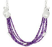 As Is Hagit Sterling Silver Amethyst Bead Necklace - J331179
