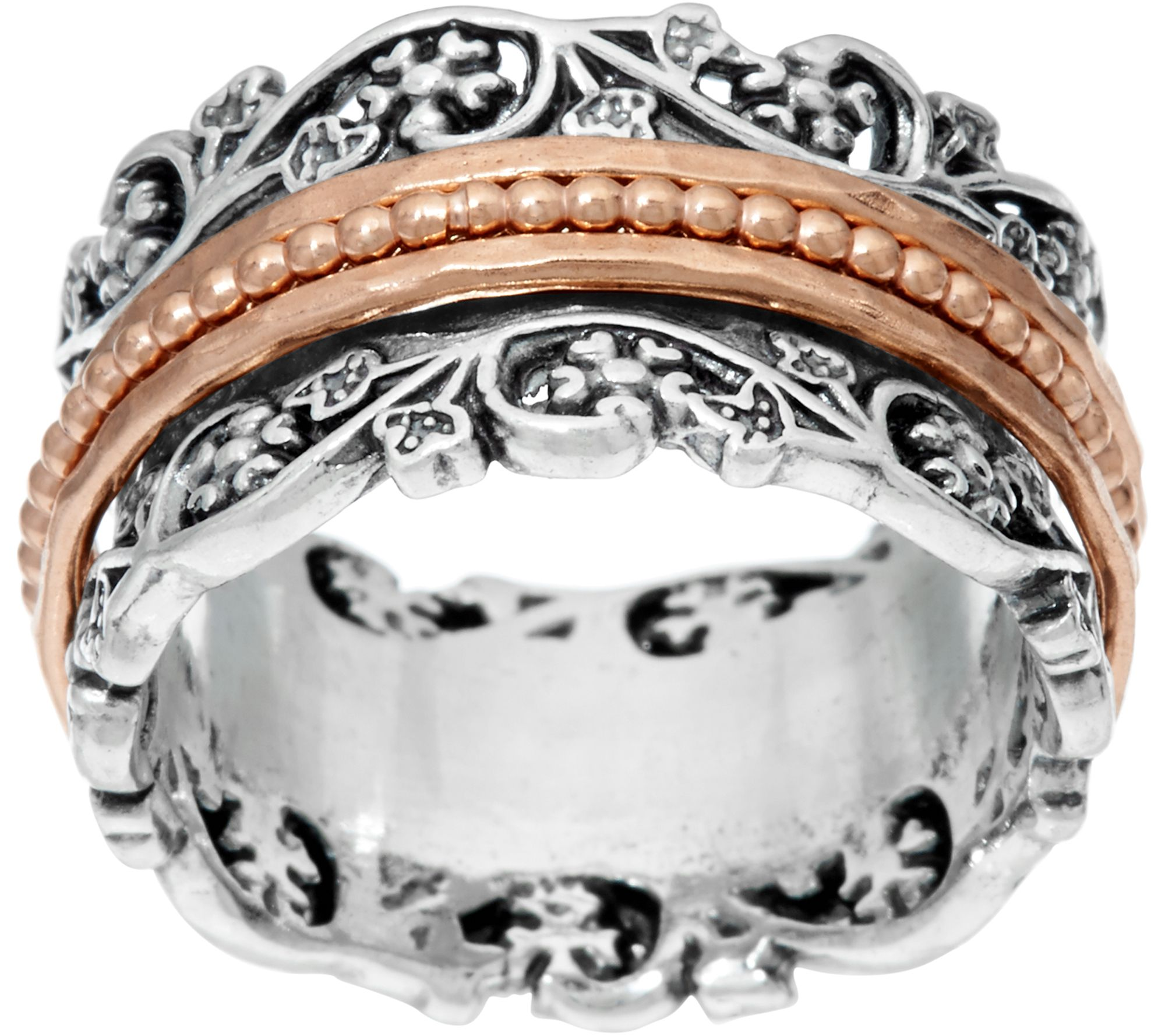 or paz sterling silver floral lace design spinner ring - page 1