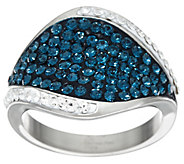 Stainless Steel Pave Style Crystal Ring - J335379