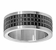 Stainless Steel Mens Two-tone Square Texture Design Ring - J337879