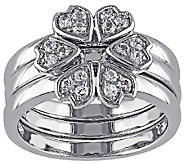 1/2cttw White Topaz Floral Stack Ring Set, Sterling - J338079