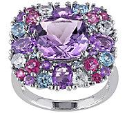 6.85cttw Multi-Gemstone Cushion Cluster Ring, Sterling - J338179