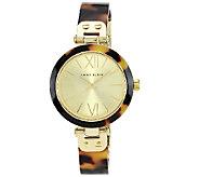 Anne Klein Ladies Goldtone Tortoise Plastic Bezel Watch - J338779