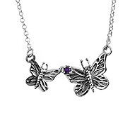 Sterling Double Butterfly Amethyst Accent Necklace by Or Paz - J339479