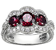 Judith Ripka Sterling 2.00cttw 3-Stone Rhodolite Garnet Ring - J339679