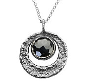 Sterling Faceted Hematite Round Pendant w/Chain by Or Paz - J341579