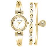 Anne Klein Womens Goldtone Bangle Watch and Bracelet Set - J342979