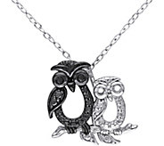Black Diamond Accent Owl Pendant w/ Chain, Sterling - J343879