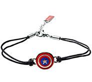 Marvel Captain America Shield in Black LeatherBracelet - J344779