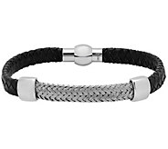 Forza Mens Stainless Leather w/ Woven StationBracelet - J344979