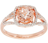 Round Morganite & Diamond Solitaire Ring 14K Gold 1.00 cttw - J346179