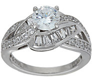 Diamonique Round and Baguette Bridal Ring, Platinum Clad - J347079