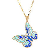 Italian Gold Enamel Butterfly Pendant 14K Gold, 1.7g - J348179