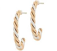 Sterling Silver and Brass Twist Hoop Earrings by American West - J349179