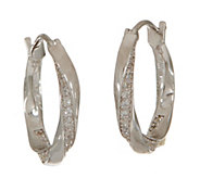 Diamonique Twisted Hoop Earrings, Sterling - J353779