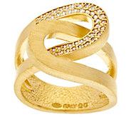 As Is Italian Silver Interlocking Crystal & Satin Ring, Sterling - J354179