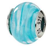 Prerogatives Sterling Blue Swirl Italian MuranoGlass Bead - J111580