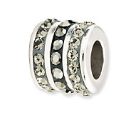 Prerogatives Sterling Black Crystal Small Barrel Bead - J113180