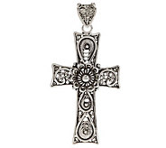 Artisan Crafted Sterling Telkari Filigree Cross Pendant - J270080