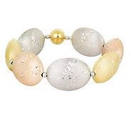 As Is Veronese 18K Clad Diamond Cut Oval Bead 7-1/4 Bracelet - J285080