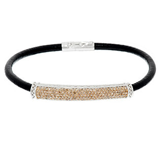 Product image of Champagne Diamond Leather Bracelet, Sterling, 5/8 cttw, Affinity