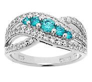 Diamonique Simulated Apatite Ring Sterling, Platinum Clad - J289780