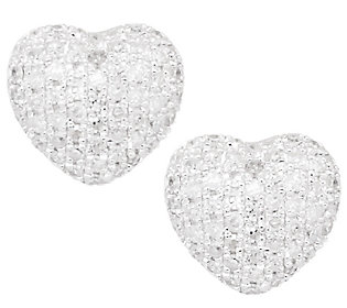 Product image of Pave' Diamond Heart Earrings Sterling 1/3 cttw by Affinity