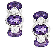 Judith Ripka Sterling & Diamonique Amethyst Huggie Hoops - J293280