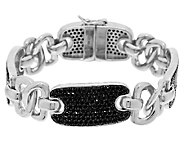 White Bronze Black Spinel Status Link Bracelet by Bronzo Italia - J296080