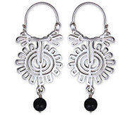 Novica Artisan Crafted OnyxHoop Earrings - J297080