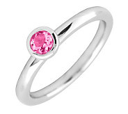 Simply Stacks Sterling 4mm Round Pink Tourmaline SolitaireRing - J298780