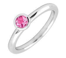Simply Stacks Sterling 4mm Round Pink Tourmaline SolitaireRing
