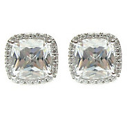 Judith Ripka Sterling Diamonique Cushion Halo Earrings - J313480