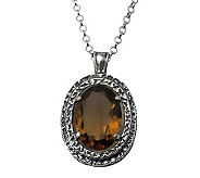 Or Paz Sterling Silver 4.30cts Whiskey Quartz Pendant w/ Chai - J314180