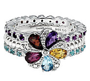 Simply Stacks Sterling Multi-Gemstone Ring Set - J314580