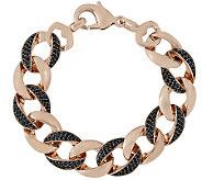 Bronzo Italia Large Black Spinel Curb Link Bracelet - J315180