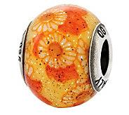 Prerogatives Sterling Orange&Yellow Floral Italian Murano Bead - J315280