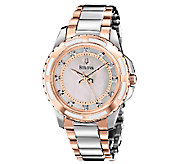 Bulova Ladies Two-Tone Diamond Dial Bracelet Watch, Rosetone - J316380