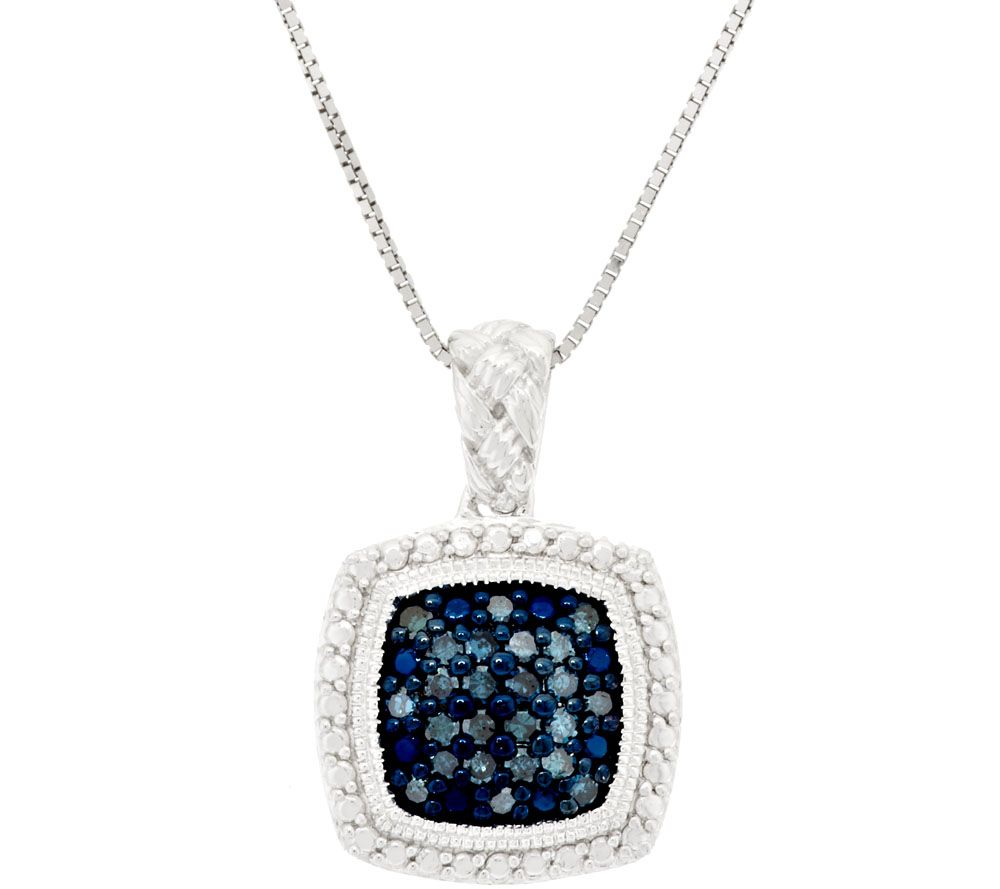 Pave' Color Diamond Braided Pendant w/ Chain, 1/4ct Affinity