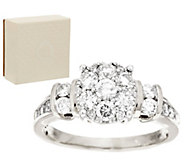 As Is Round Cluster Design Diamond Ring 14K, 1.00 cttw by Affinity - J321180